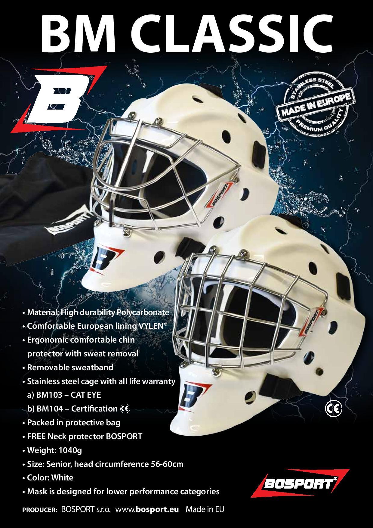 Goalie mask BOSPORT BM CLASSIC